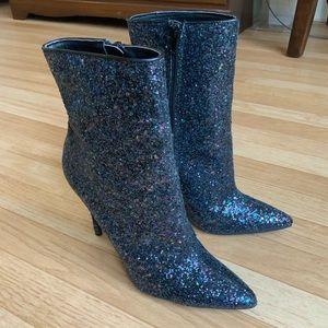 Blue Sequined Heeled Booties 👢💙✨